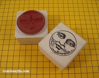 Small Moon Face Stamp / Invoke Arts Collage Rubber Stamps