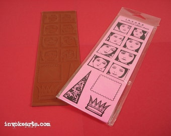 Sale / Face Squares / Invoke Arts Collage Rubber Stamps / Unmounted Stamp Set