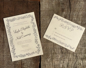 Floral Border Wedding Invite