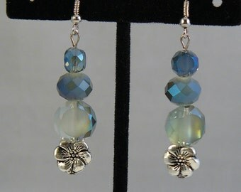 Blue Ice and Flowers Earrings