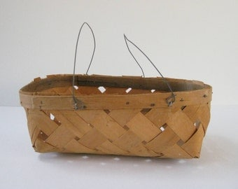 Vintage shaved wood woven market basket with wire handles