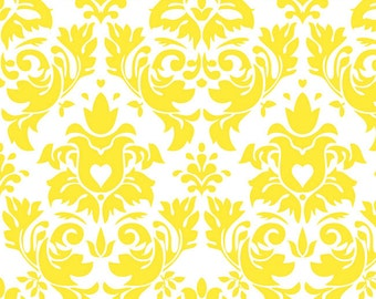 Knit Damask Yellow Fabric 1/2 yard