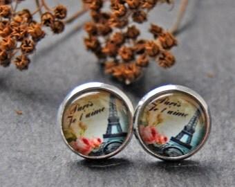 Cabochon Earrings (12mm) Eiffel Tower, Paris