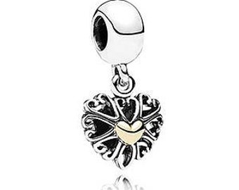 Sterling Silver New Real 14ct Gold Openwork Love Pendant Charm