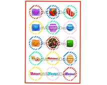 "INSTANT DOWNLOAD Candy Crush 1"" Circle Sheet"