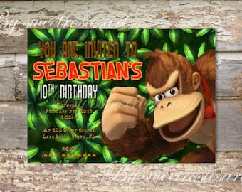 Donkey Kong Birthday Invitation / digital / printable/ custom made