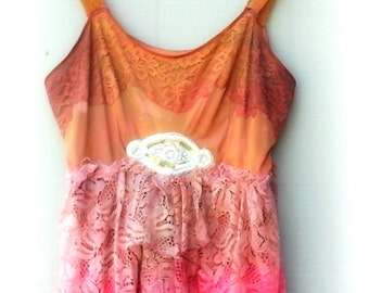 Hot Pink Deep Tangerine Lace Dress, Bohemian, Summer Gypsy traveller, roamer, wanderer, rover, rambler, nomad, vagrant, Romany, vagabond