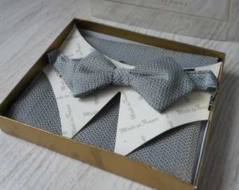French vintage Guy Laurent bow tie and matching handkerchief  (x)