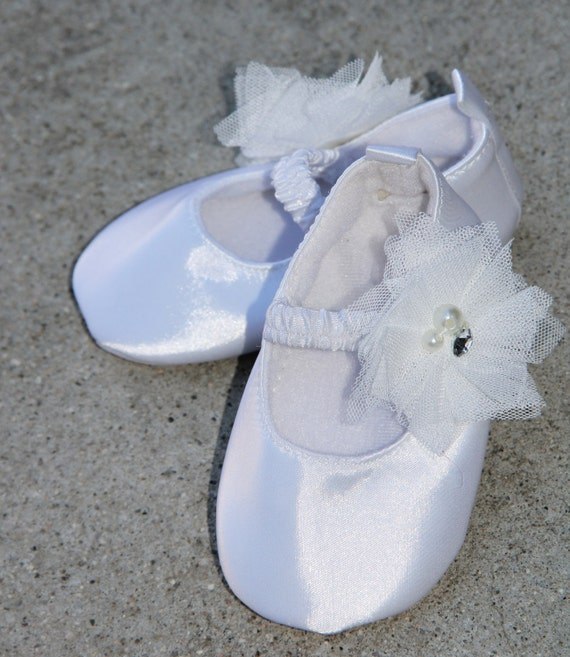 baby shoes satin white ballet flat crib shoes christening baby