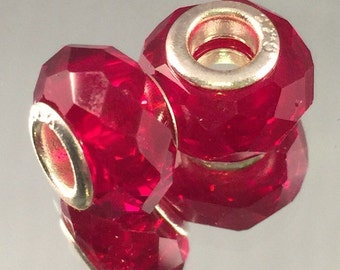 Murano Glass Bead - .925 Sterling Silver Core - Dark Red Faceted - #M89