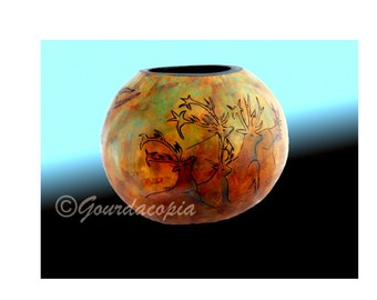 Cave Art Gourd Nine inches  in diameter by eight inches high