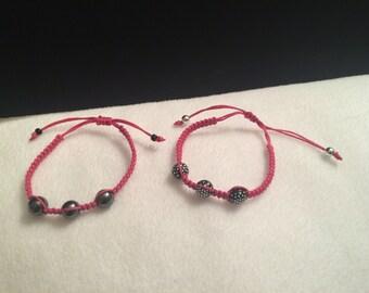 Pink hemp with black beads bracelet set