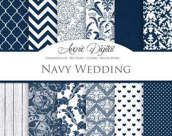 Navy Wedding Digital Paper. Scrapbooking Backgrounds, bridal blue patterns for save the date cards and invitation. Commercial Use, Download