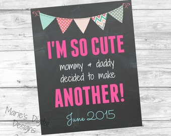 Printable Pregnancy Announcement - I'm so cute - Chalkboard Photo Prop