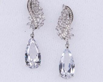 Wedding Earrings Zirconia Earrings Wedding Jewelry Bridesmaid Earrings Bridesmaid Accessories Dangling Teardrop Earrings stl166