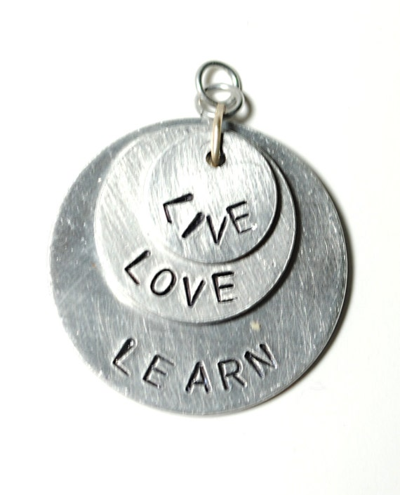 Handstamped Live, Love, Learn Charm Necklace Pendant