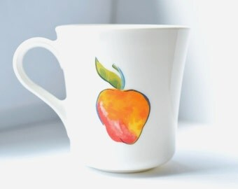 Vintage Coffee Cup Mug White Glass Peach Cherries, Corning Wear USA, 4 cups available