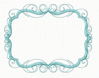 Instant Download Flourish Swirly Frame Machine Applique Embroidery Design, Flourish Frame Design Hoop size 4X4 5X7 6x10 8x12