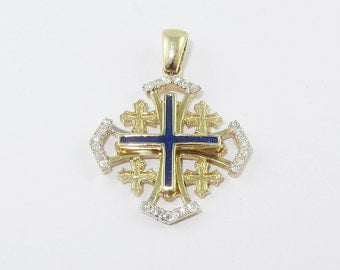 14K Yellow Gold, Jerusalem Cross, Diamond, cold Blue Enamel