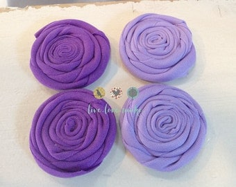 "2.5"" Purple Lavender Rolled Fabric Flowers-Rosette-Rose-DIY-Hairband-Headband-Purple-Lavender-Green-Shabby Chic"