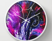 Art Wall Clock, Purple Red Blue, Wall Decor, Unique, Modern Clock, Bedroom, Living Room, Abstract, Round Clock