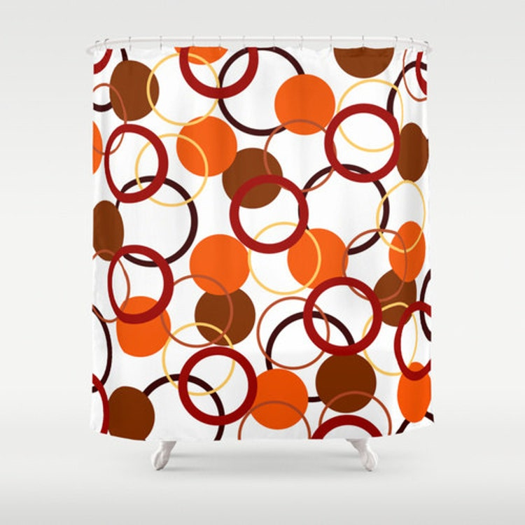 Orange Shower Curtain Yellow And Red Bathroom By Designbyjuliabars