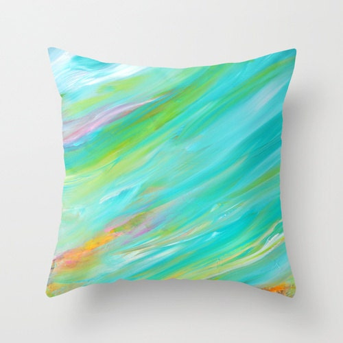 Turquoise Pillow Cover Bright Pillows Blue Yellow Colorful