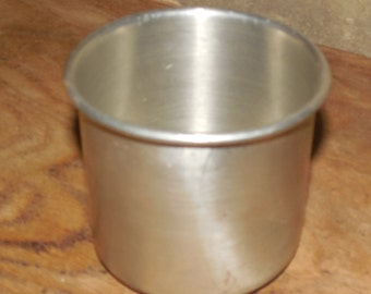 "Pewter Cup by Leonard-No handle with Rim-2 1/2"" Tall-Rugged-Farmhouse or Country Decor, Signed Leonard Genuine Pewter Cup"