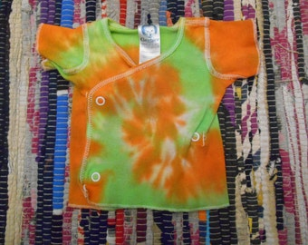 hand dyed tie dye newborn snap shirt, light green and orange, hippie