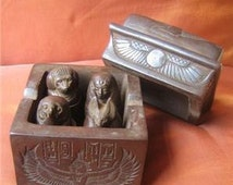 Antique Collection Set of 4 Canopic Jars Egyptian Organs Storage Statues in BOX