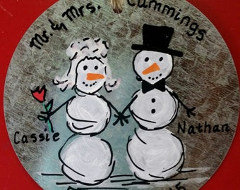 Personalized  Wedding or 1st Christmas Ornaments - hand painted!