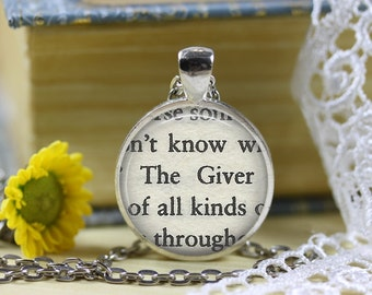 The Giver Book Page Necklace The Giver Jewelry