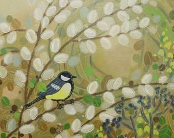 Original acrylic bird painting - great tit - English countryside