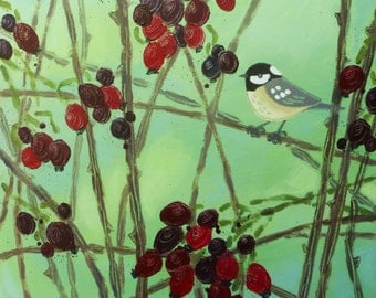 Original acrylic painting -  coal-tit and rosehips in winter