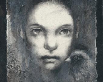 Charcoal and acrylic mixed media original artwork
