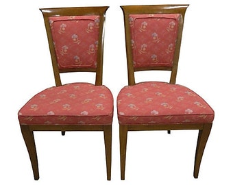 Mid Century Satinwood Upholstered Chairs, Pair