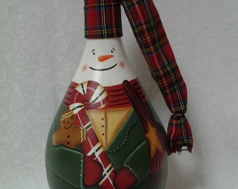 Hand-Painted Snowman Recycled Chianti Bottle Christmas Decoration