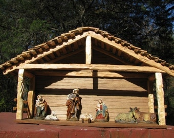 Multi shingled hand crafted wood ch ristmas nativity stable creche