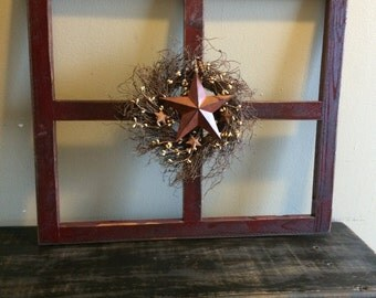 Primitive Wood Window Wall Hanging with Decoration
