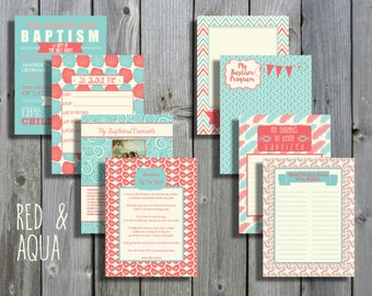Red & Aqua LDS Baptism Printable Memory Book - Instant Download