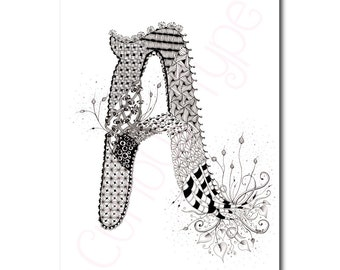 Zentangle Inspired Letter A, Colouring Page