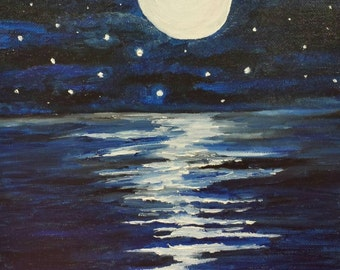 Framework, Oil Painting, sea, ocean, horizon, moon, moonlight, reflections, night
