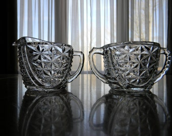 Clear Glass Creamer and Sugar Set Stars and Bars Vintage 1960s Anchor Hocking