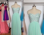 Long Mint Prom Dress, Chiffon Sweetheart Formal Dresses, Beaded Evening Wedding Party Dresses 2015