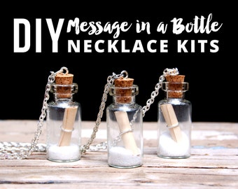 Message in a Bottle Necklace Kit, Bridesmaids Jewelry Gift Idea, DIY Necklace Kit, DIY Jewelry Kit