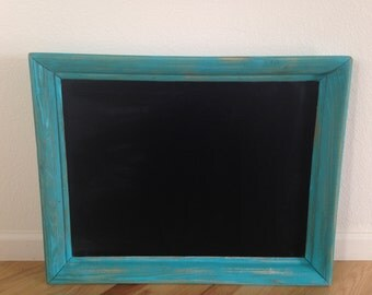 Chalkboard in Aqua Frame 28 x 22 painted and distressed