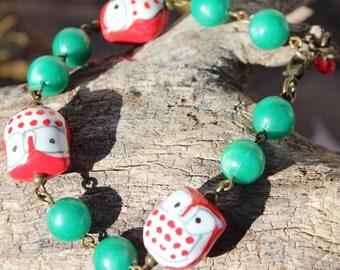 Red Porcelain Owl Christmas Bracelet