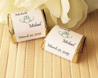 Irish Wedding candy wrappers, Irish Wedding Gift,  claddagh favors, personalized candy bar wrappers, irish wedding favors, claddagh gift