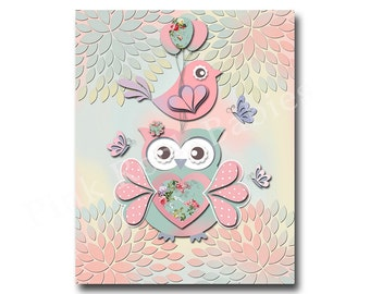 kids room wall decor for baby girl room decor children room decor pink nursery art kids artwork children room art nursery decor owl decor