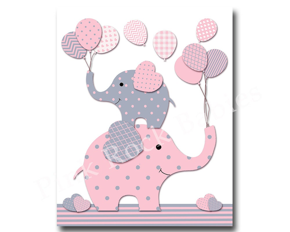 Wall Decor For Baby Girl : Pink grey nursery wall art for baby girl room by